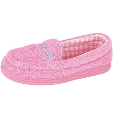 S14 FLO-Womens Pink/Lilac soft towelling slippers.UK 7- Pink