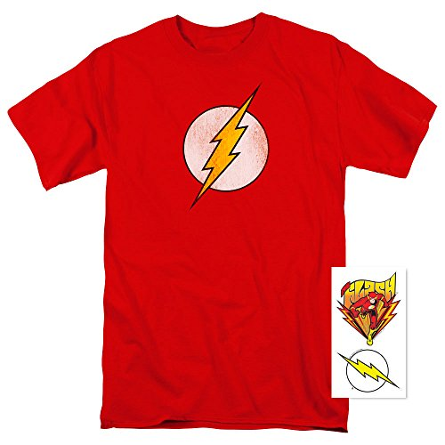 Flash Officially Licensed T Shirt w/ Distressed Logo and Exclusive Stickers (Small) (1940 Captain America compare prices)