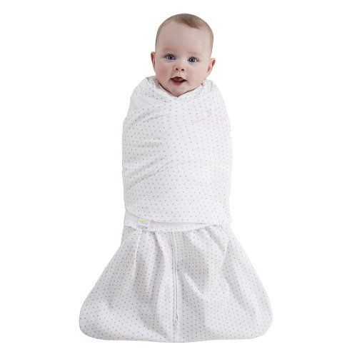 Halo Sleepsack 100% Cotton Adjustable Swaddle (Small, Pink/Grey Dot)