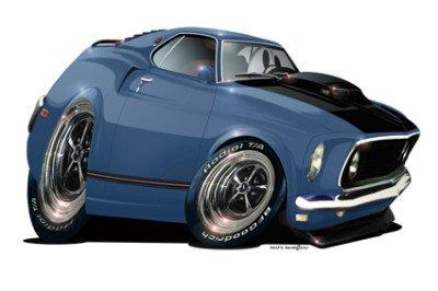 24 Db 1969 Mustang Gt Mach 1 351 C Turbo Fire Cartoon Car Wall