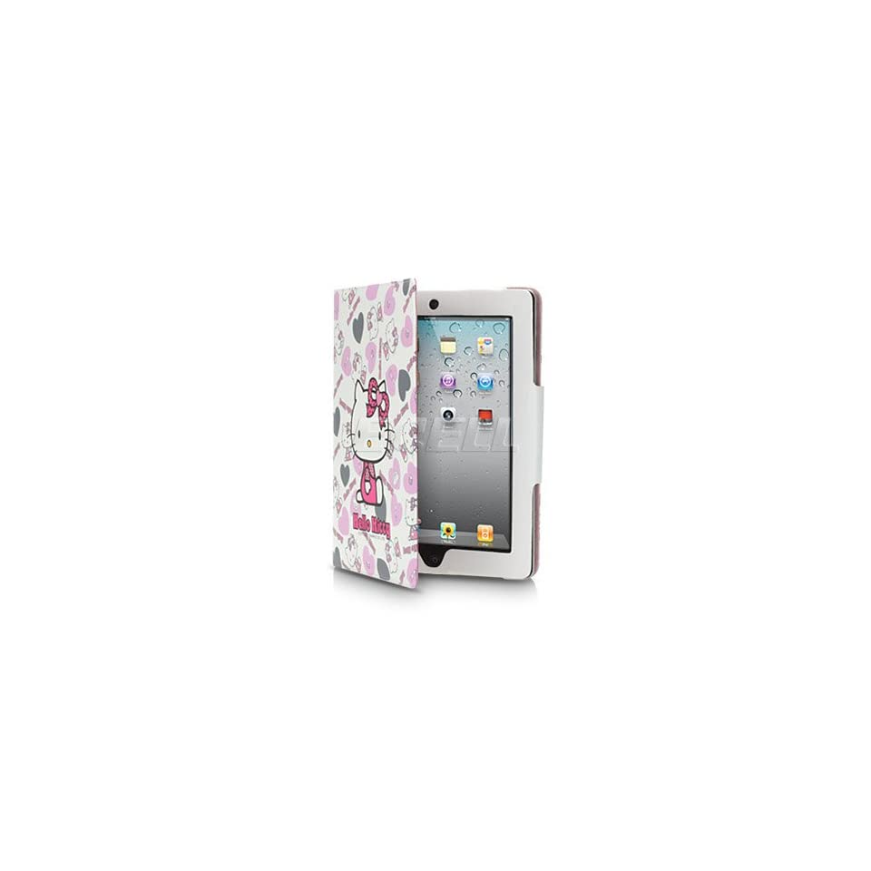 Ecell   WHITE HELLO KITTY LEATHER CASE & STAND FOR APPLE iPAD 2