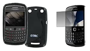 Bundle 2 Items: T-mobile Blackberry Curve 9360 Black Poly Skin Cover Case, and Screen Defender