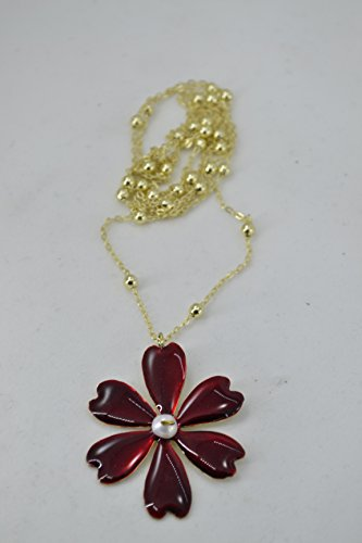 handmade-necklace-with-daisy-of-brass-colored-with-cold-enamel-pearl-and-aluminum-chain