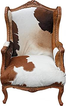 Casa Padrino Baroque Lounge throne Cowhide Mod2 - wingchair - wing chair Tron chair - unique!