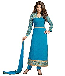 Shree Khodal Women's Blue Georgette Dress Material [SK_JCN1036_A]