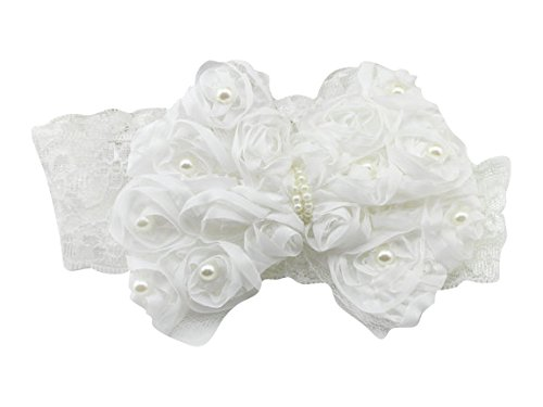 PinkXenia Newborn Infant Toddler baby girl bowknot flower pearl elastic lace white Soft head band