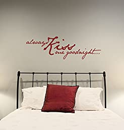 Vinyl Decals Always Kiss Me Goodnight Love Quotes for Wedding or home decor, Vinyl Lettering Wall