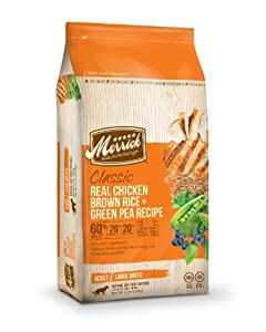 Merrick Classic 15-Pound Large Breed Real Chicken, Brown Rice and Green Pea Dog Food, 1 Bag