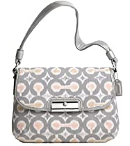 Coach Signature Op Art Ikat Top Handle Pouch Bag Purse 45376 Grey Multi