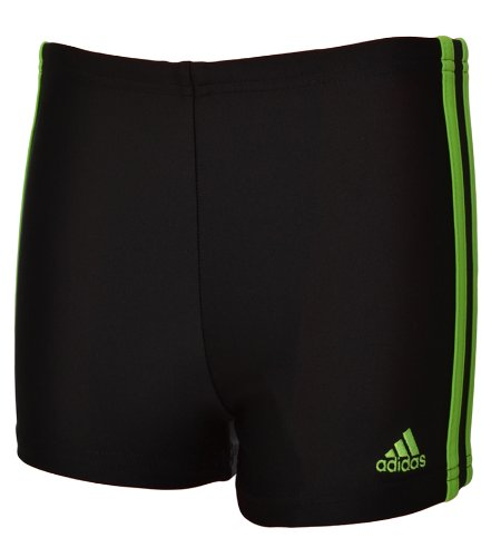 Adidas Boys Infinitex 3 Stripe Swimming Boxer Trunk - Black/Green