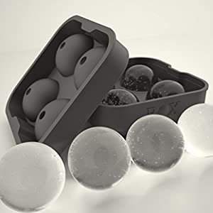 ROX Sphere Ice Ball Maker - Classic Black Silicone Ice Ball Mold with 4 X 4.5cm Ball Capacity Tray. Flexible Round Silicone Mold for Easy Removal of Ice Balls. Taste the Whiskey Not the Water. (1, Rox Single Pack)