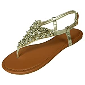 Womens Metallic & Faux Leather Gladiator Sandals Flat Shoes W/Beads & Rhinestones (7/8, Silver 6349)