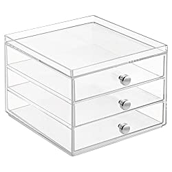 InterDesign Clarity Plastic Cosmetic Organizer, White
