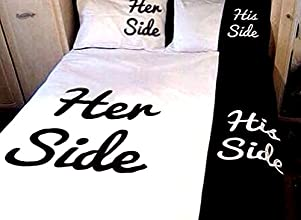 Unique Design His Side and Her Side Trim 4-Piece Cotton Duvet Cover Sets Bedding Sets Duvet Cover Se