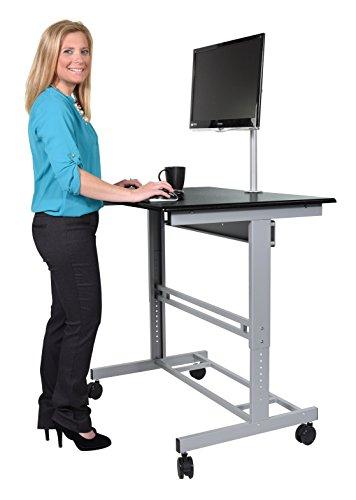 120cm-Lnge-Hhenverstellbarer-Schreibtisch-Rahmen-silber-Holz-schwarz
