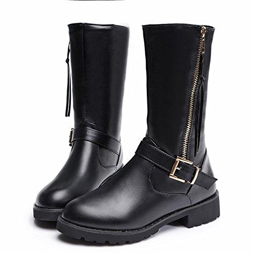 Tubo donne stivali lato cerniera al vento di inverno in greggio breve Inghilterra due con caldo antiscivolo stivali stivali da neve , black , 35