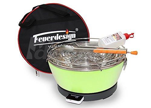 Rauchfreier Holzkohle Tischgrill VESUVIO v. Feuerdesign – Grün, im Spar Pack mit Grill-Zubehör günstig bestellen