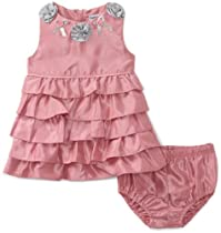 Hartstrings Baby-girls Newborn Shantung Tierred Dress And Diaper Cover Two Piece Set, Frosted Rose, 3-6 Months