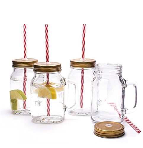Set of 4 Traditional American Old Style Mason Pint Jar Drinking Glasses With Sturdy Handle Screw Cap Lid & Straw- Ideal For Enjoying Your favourite Cold Beverage - Ideal for Traditional Lemonade / Iced Tea old Ale by CKB Ltd