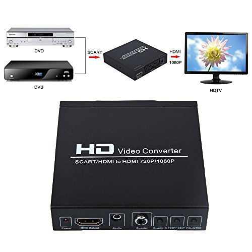 zyz scart to hdmi video converter box 1080p upscaler with and coaxial audio output for. Black Bedroom Furniture Sets. Home Design Ideas