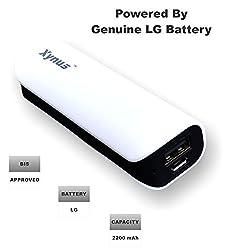 XYNUS RM-2200 mAh Power Bank With Genuine LG Battery (White - Black)