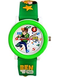 COSMIC ANALOG DESIGNER KIDS WATCH- BEN 10 IMAGE- GREEN STRAP