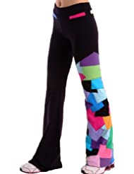 Margarita Activewear Black Long Pants with Multi-colored patches