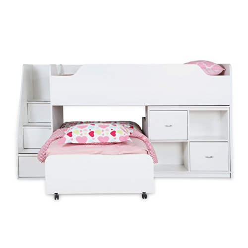 South Shore Mobby Loft Bed With Trundle And Storage Unit, Twin, Pure White front-859230