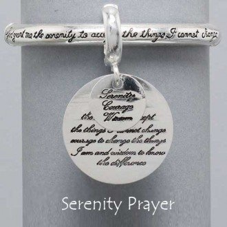 Silver Tone Strech Serenity Prayer Bracelet with Large Round Coin Dangling Charm