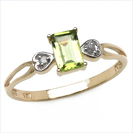 Attractive 9 ct Gold Women Solitaire Engagement Diamond Ring Brilliant Cut I-I1 with Peridot