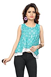 Trendif Sky Blue Poly Chiffon Party Wear Party Crop Top