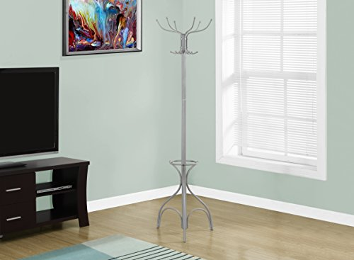 Monarch Coat Rack with an Umbrella Holder, Silver, 70