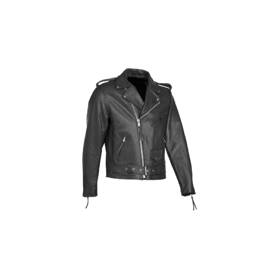 River Road Black Leather Motorcycle Jacket (Mens & Womens)   Frontiercycle (Free U.S. Shipping) (60, Mens)