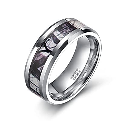 8mm Tungsten Winter Branch Camouflage Inlay Hunting Ring Wedding Engagement Band Comfort Fit Size 5-10