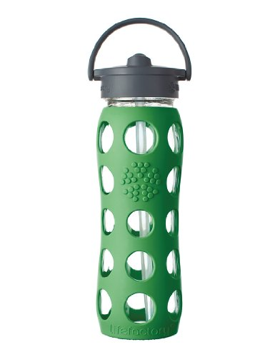 Lifefactory 22-Ounce Glass Bottle with Straw Cap and Silicone Sleeve, Green