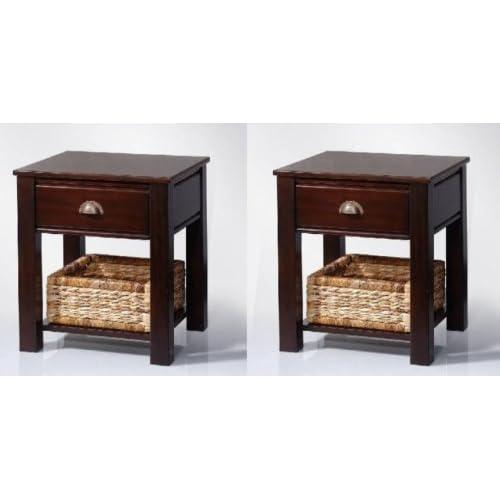 2x Beistelltisch Nachttisch Mahagoni + Korb + Schublade kolonial