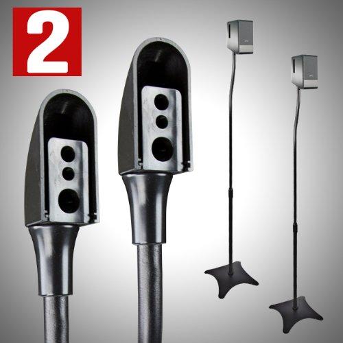 2 Universal Surround Sound Speaker Stand Black Pair