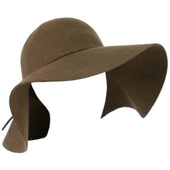 "Winter Wool Ribbon Hat Floppy Ribbon 4-3/8"" Brim Brown"