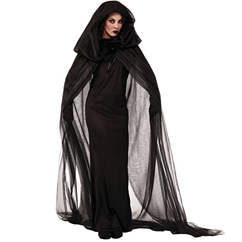 Lovery Valley Women's Plus Size Black Dress and Hooded Cape Ghost Costume