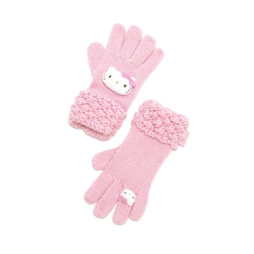 Hello Kitty Womens Girls Gloves Knitted - Die Cut Pink