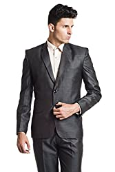 Wintage Men's Poly Viscose Two Buttoned Notch Lapel Festive and Casual Shiny Black Blazer