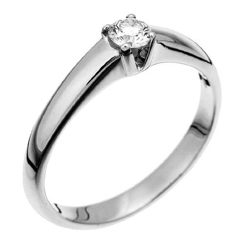 Orphelia Women 750/1000 gold 750/1000 white gold Round H Diamond Fine Ring