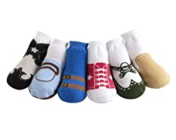 JazzyToes Baby 6 Pair Socks Original Variety - Boys, 0-12 Months