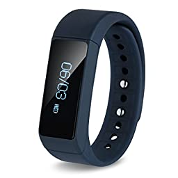 Smart Bracelet, Ronkoen I5+ Smart Bluetooth Sports Bracelet Wireless Fitness Pedometer Tracker Activity Tracker with Monitoring Calories Track Steps Counter Sleep for Sports Fitness-Blue