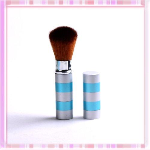 Silver-blue Retractable Face Powder Blusher Makeup Brush Fibre Buffer Cheek Tool B0237