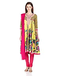 Rain And Rainbow Women's Anarkali Kurta (4403-1-32IW_LIME_XS)