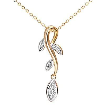 Ariel Women's 9ct Yellow Gold Diamond Leaf Drop Pendant + 46cm Trace Chain