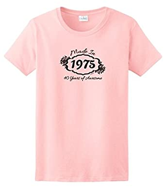 Made 1975 40 Years Awesome Funny 40th Birthday Gift Ladies T-Shirt