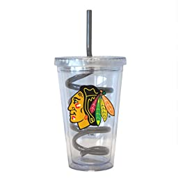 NHL Chicago Blackhawks Tumbler with Swirl Straw, 16-ounce