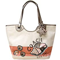 Hot Sale Coach Canvas Beach Shell Tote Satchel Bag 19273 Natural Multi